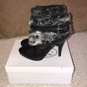 Steve Madden leather with fur heel booties